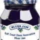 Jar of blueberry jam with label representing the Gulf Coast Blues Association Blues Jam at Emmits Place