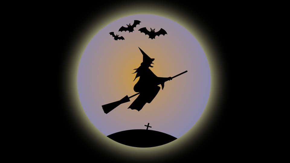 Witch flying through a moon for Halloween karaoke.